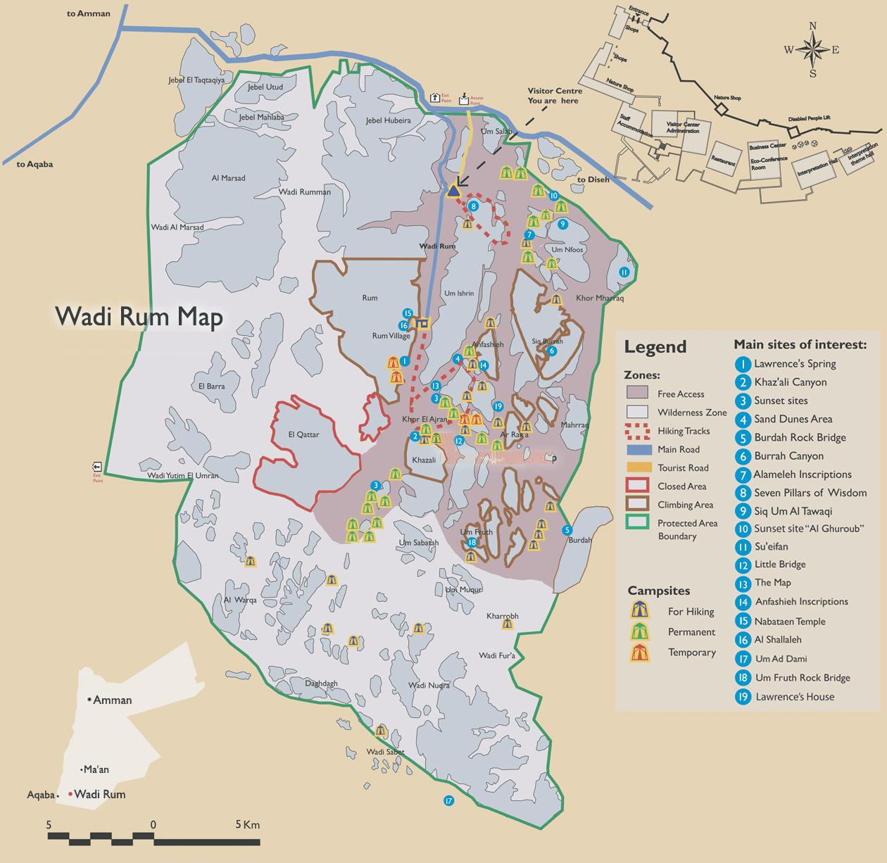 Wadi Rum Gezilecek Yerler Haritası